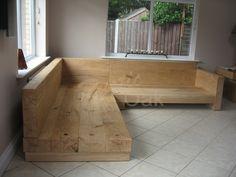 Oak Beam Sofa – Rustic Oak Furniture – rustic home interior Diy Couch, Diy Furniture Couch, Diy Outdoor Furniture, Home Decor Furniture, Pallet Furniture, Diy Home Decor, Furniture Design, Furniture Plans, Wooden Sofa Designs