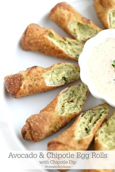 Avocado and Chipotle Egg Rolls with a delicious Chipotle Dip from @createdbydiane