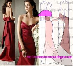 Pattern making construction of evening gown Evening Dress Patterns, Dress Sewing Patterns, Clothing Patterns, Diy Clothing, Sewing Clothes, Fashion Sewing, Diy Fashion, Costura Fashion, How To Make Clothes