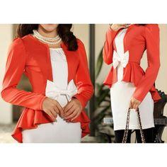 Dovetail Bow Pattern Long Sleeve Slim Women's Suit Jacket