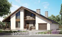 265-001-П Проект двухэтажного дома с мансардным этажом и гаражом, большой домик из теплоблока