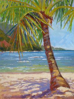 Hanalei Palm - Tropical Hawaiian Artwork / ORIGINAL ARTWORK: Beach Decor, Coastal Home Decor, Nautical Decor, Tropical Island Decor & Beach ...