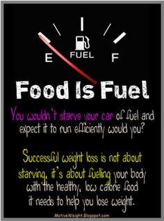 Food is fuel ...something to remember.