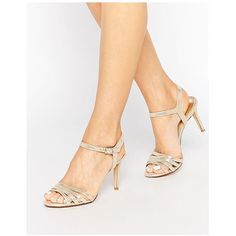 Dune Gold Metallic Maci Strappy Sandals ($96) ❤ liked on Polyvore featuring shoes, sandals, gold, strappy sandals, open toe sandals, dune shoes, metallic sandals and metallic shoes