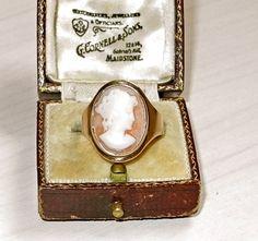 Art Deco English Women Cameo 9ct Gold Ring Size 8, Signed via eBay
