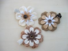 Flower Hair Clips Girl Hair Clips Paper Flowers in by ZNextDesigns, $7.00
