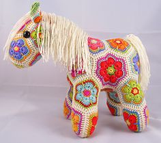 Fatty Lumpkin the Brave African Flower Pony Crochet Pattern by Heidi Bears: The purchase of this pattern also provides for a second downloadable PDF, which shows you how to turn Fatty into a rocking-horse, a unicorn and a Pegasus
