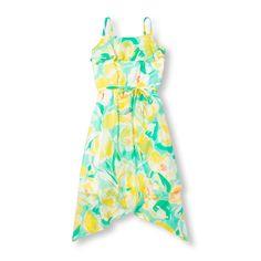 Girls Sleeveless Floral Print Sharkbite Maxi Dress