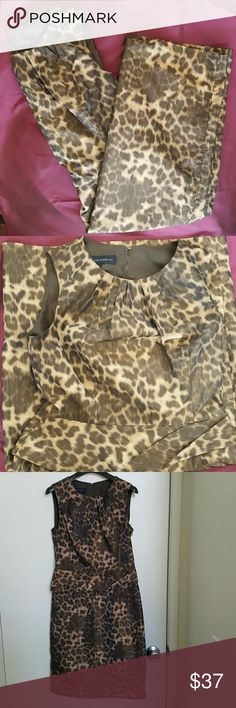 Anne Klein animal print work/cocktail dress size 4 Brown toned animal print dress by Anne Klein, size 4, worn once. Perfect for work with dark brown blazer or short cardigan  and also as a cocktail dress. Priced to sell! Anne Klein Dresses Midi