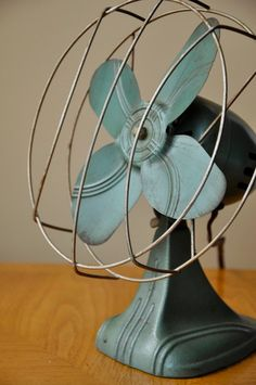 Working Vintage Teal Cast Iron Table Fan by PeachyPopVintage