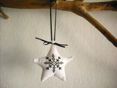 Scandinavian Christmas Ornament, Home Christmas decoration, Nordic ornament, Black and White Christmas, Cross stitch
