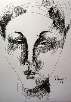 Desenho de Ticiano Souza - Uma mulher - Desenho bico-de-pena feito com caneta e nanquim - 2017