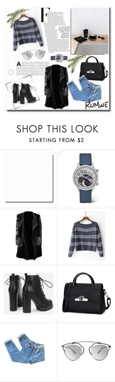 """""""Romwe- Boat Neck Striped Knitwear"""" by mimi-24 ❤ liked on Polyvore featuring Jaeger-LeCoultre and Christian Dior"""