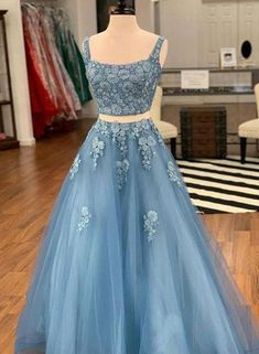 d59b5022d356 Charming elegant blue two pieces applique long prom dress, pretty even –  FLYDP