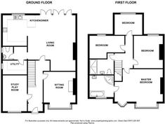 floor plans for semi detached house side and rear extension Kitchen Extension Floor Plan, 1930s House Extension, House Extension Plans, House Extension Design, Rear Extension, Extension Ideas, House Design, House Plans Uk, 4 Bedroom House Plans