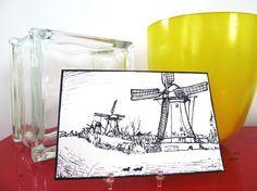 Original Art Postcard Mailed to You from Holland: Kinderdijk Windmills. $11.00, via Etsy.