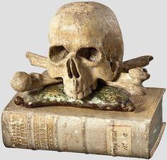 Memento Mori - Skull & Crossbones resting on THEOLOGICA UNIVERSA. Augsburg, Germany, Circa 1760.