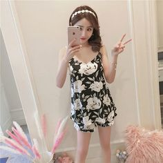 Best Sweet Cartoon Cute Flower Strap Chest Pad Pajamas Set online, sexy and hot Sweet Cartoon Cute Flower Strap Chest Pad Pajamas Set is hot sale at NewChic Best Pajamas, British Indian, Lingerie Sleepwear, How To Get Money, St Kitts And Nevis, Pajama Set, Summer Dresses, Cute, Clothes