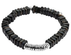 Tateossian Silver Close, Ebony Brown Discs Bracelet