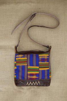 Brown Leather Shoulder Bag with Kente Cloth