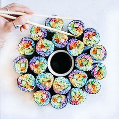 Pin for Later: Rainbow Sushi Is For Unicorns and Mermaids Only Add any vegetables you prefer — the more colorful, the better.