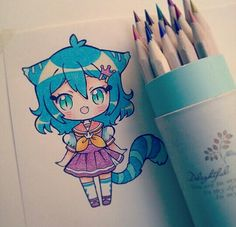 anime drawings the pencils are not named, the buy in a china shop, and I do not know what type of the paper, but it is a little rough ówo) ♥ Kawaii Anime, Art Kawaii, Kawaii Chibi, Cute Chibi, Dibujos Anime Chibi, Chibi Anime, Manga Drawing, Manga Art, Anime Art