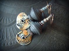 Earth Ware Clay, Brass, Ragged Robyn, Clay Discs, Old Stone, Rustic, Organic, Primitive, Tribal, Ceramic, Clay, Beaded Earrings