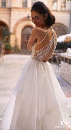 Romantic and elegant open back a-line bridal gown for a princess bride who wants a fairytale wedding day | Daria Karlozi Wedding Dresses 2021 -08161- Brilliance | How to Choose a Wedding Dress in 2021- Belle The Magazine | See more gorgeous bridal gowns by clicking on the photo