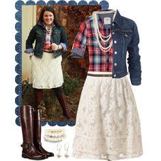 Denim jacket, plaid shirt, pearls, lace skirt, and dark boots = Cute!!