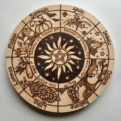 Pyrography Witches Wheel of the Year, Pagan Celebrations Altar Decoration - Recipes Wood Burning Crafts, Wood Burning Art, Wiccan Witch, Magick, Pagan Witchcraft, Wooden Wheel, Witch Decor, Pagan Decor, Witch Craft