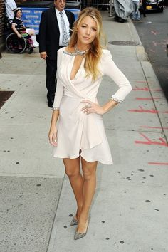 Blake Lively in a Jenny Packham dress with Christian Louboutin pumps