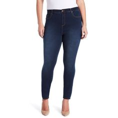 Plus Size Gloria Vanderbilt Amanda High-Rise Skinny Jeans ($37) ❤ liked on Polyvore featuring jeans, med blue, plus size, women's plus size jeans, blue skinny jeans, plus size high waisted skinny jeans, gloria vanderbilt jeans and super skinny jeans