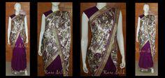 Half and half , Soft floral satin with purple semi raw silk pleats, with a thin purple kundan and gold border.