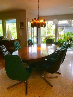 Baker table, chromecraft chairs , Tom Greene chandelier