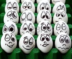 White easter eggs and funny faces photo