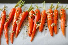 Honey Butter Roasted Carrots - the most delicious and tender roasted carrots, with honey, butter and garlic. So easy and takes 10 mins to prep.