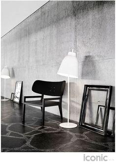 White metal floor lamp 152cm