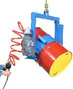 "55 Gallon Below-Hook Overhead Drum Carriers Spark Resistant Parts, Powered Tilt have full 360 degree control of the powered drum rotation to dispense with this industrial lifting equipment. The drum carriers are designed for 22.5"" diameter 55-gallon steel drum, the Fiber Drum Strap, HDPS Bracket and Diameter Adaptors are available for use with smaller size drums."