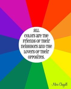 Color wheel quote - Colors are friends of their neighbors - Print. From Priss Designs shop.