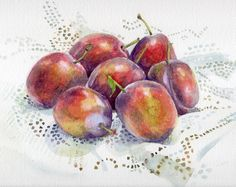 Seven Plums - watercolour still life by Jane Duke