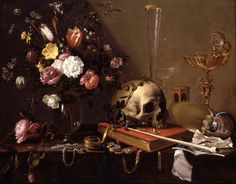 """The still life painting genre known as the vanitas (or, in the more visceral French, nature mort, """"dead nature"""") contrasts the vibrant life of flowers and fruit and the glitter of earthly treasures with signs of rot and decay, including the skull."""
