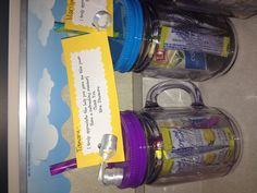 Parent Volunteer Gifts Have a refreshing summer! I bought the plastic Mason Jars at Costco and filled them with iced tea and lemonade.