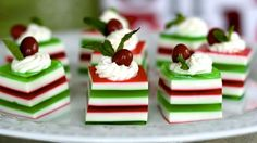 These Holly Jolly Jelly Shots are festive finger food spiked with vodka for a playful holiday party treat.