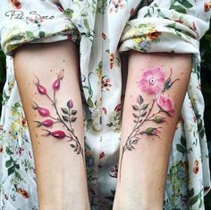 Floral forearm tattoos by Pis Saro