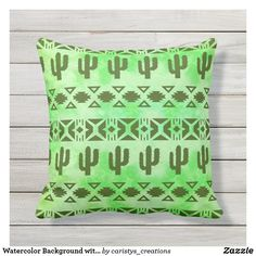 Watercolor Background with Cactus Outdoor Pillow Indoor Outdoor, Outdoor Decor, Outdoor Pillow, Home Reno, Watercolor Background, Cactus, Plush, Cottage, Patio