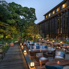 For the Brasserie deck at the water's edge, Four Seasons Hotel Kyoto opted for Tribù's Mood collection designed by Studio Segers. The Mood armchair creates a sophisticated dining area outdoors, while the club chair and sofa accommodate comfortable lounge areas.