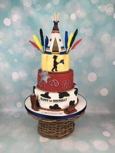 Cowboy and Indian teepee 1st birthday cake  by Melanie Jane Sowa