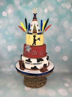 Cowboy and Indian teepee 1st birthday cake  by Melanie Jane Sowa
