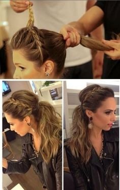 Braid front from one side to other. tease crown. Tease Tail and Tie. Spray