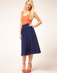 Enlarge ASOS Simple Full Skirt With Paperbag Waist